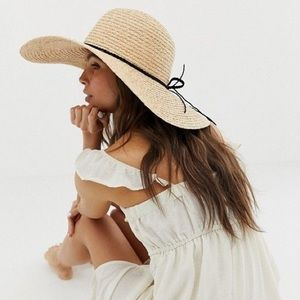NEW ASOS natural straw floppy hat with braid